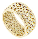 A tight golden weave decorates this 14K yellow gold antique style wedding band