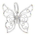 Curving designs ornament the wings of the butterfly on this 14K white gold antique style pendant