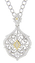 This sterling silver antique style necklace is decorated with 18K yellow gold and diamond accents