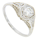 Crafted of 18K white gold and set with a .33 carat H color Si1 clarity diamond