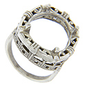 Filigree designs decorate this 14K white gold antique style engagement ring mounting