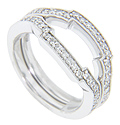 Stepped curves ornament these 14K white gold antique style curved wedding bands