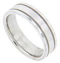 Double grooves ornament this modern men's wedding band