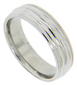 Ridges and milgrain patterning ornaments this antique style men's wedding band