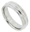 Three rounded ridges ornament this antique style men's 14K white gold wedding band