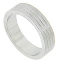 Squared off edges and three subtle grooves decorate this 14K white gold modern men's wedding band