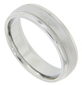 A Florentine finish center strip is flanked by polished edges on this modern men's wedding band