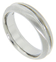 Florentine finish edges frame a deep center groove on this modern men's wedding band