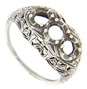 Filigree designs decorate this 14K white gold antique style mounting