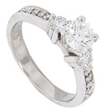 A .70 carat, H color, Vs1 clarity GIA certified diamond is at the center of this 14K white gold engagement ring