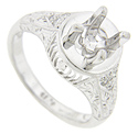 Diamonds are set in the shoulders of this platinum engagement ring mounting