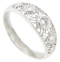 Antique style wedding band in platinum filigree and diamonds