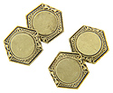 The centers of these 10K yellow gold antique cuff links feature polished circles