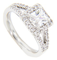 A square center diamond is surrounded by round diamonds on the engagement ring in this contemporary wedding set