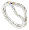 These 14K white gold curved wedding bands are frosted with rows of glittering round diamonds