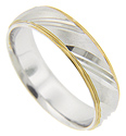 Chiseled diagonal lines are contrasted with a matte finish on this 14K white gold antique style men's wedding band