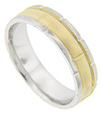 Segmented with a colorful splash of yellow gold in the center, this 14K white gold men's wedding band measures 5.9mm in width