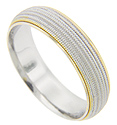 Detailed beaded texturing covers the surface of this 14K white gold antique style men's wedding band