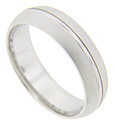 A narrow polished strip is flanked by matte finish edges on this 14K white gold antique style men's wedding band