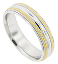 Milgrain accents in yellow gold ornament this 14K white gold antique style men's wedding band