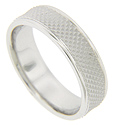 A center matte finish strip is flanked by smoothly polished edges on this 14K white gold antique style men's wedding band
