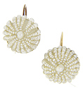 Small dome shaped seed pearl estate earrings with screw backs