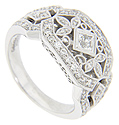 Four square diamonds are surrounded by diamond studded floral designs on this 14K white gold antique style wedding band