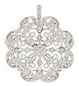 This sparkling pin and pendant is set .75 carats total weight of diamonds