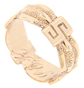 "Stylized ""S"" shapes are separated by repousse patterns on this 14K rose gold estate wedding band"