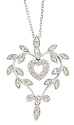 The pendant on this 14K white gold antique style necklace depicts a heart crafted out of a leafy vine