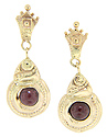 14K yellow gold cabochon garnet earrings which dangle from post backs