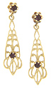 These 14K yellow gold filigree estate garnet dangle earrings are set on posts