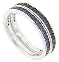 Invisible set, faceted square sapphires are set around 2/3 of the circumference of these 14K white gold stackable wedding bands