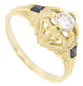A sparkling .35 carat diamond is set in this 14K yellow gold antique style engagement ring