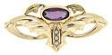 This stylized art nouveau, 10K rose and green gold, butterfly pin has an amethyst center stone and three seed pearls