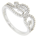 Scrolling curves set with glittering diamonds ornament the top of this 14K white gold modern ring