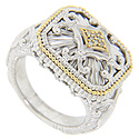 18K yellow gold accents provide a splash of color on this highly ornate sterling silver ring