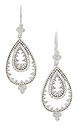 Diamonds adorn these 14K white gold antique style earrings
