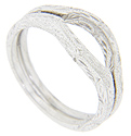 These 14K white gold curved wedding bands are manufactured here in the United States exclusively for the Marlene Harris Collection