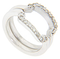 Squared off curves are set with faceted round diamonds on this 14K white gold antique style curved wedding bands