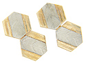 A strip of ornamented white gold runs down the center of these antique 10K yellow gold hexagonal cuff links