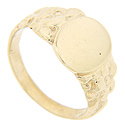 Floral designs adorn the shoulders of this 14K yellow gold antique style signet ring