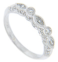 Marquis and round diamonds decorate the top of this 14K white gold antique style wedding band