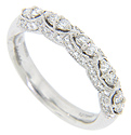 Five pairs of diamonds decorate this diamond studded 14K white gold modern wedding band