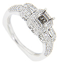 This 14K white gold antique style engagement ring is covered with a glittering array of faceted round diamonds