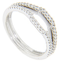 These 14K white gold curved wedding bands are each set with a row of diamonds across the top