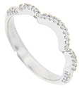 This antique style curved band is crafted out of 14K white gold and features a triple curving design