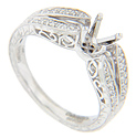 Double rows of diamonds decorate the shoulders of this 14K white gold antique style engagement ring mounting