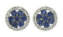 Sapphire florets are the central design in these antique style 14K white gold stud earrings