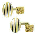 Black and white striped enamel covers the faces of these wonderful 14K oval Art Deco cuff links